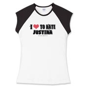 I Love To Hate Justina Women's Fitted Cap Sleeve T
