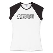 Women's Fitted Cap Sleeve Tee - Cheesecake (blk)