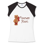 A tole art teddybear with a large red bow, carrying a red heart - Forever Yours! A cute design, not just for Valentines´Day,