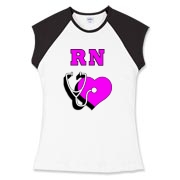 RN nurse's apparel, tee's and sweats with stethoscope, pink heart and RN are great gift ideas and perfect for every day wear.  Visit us online at Bonfire Designs: