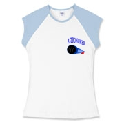 This women's astronomer cap sleeve tee pocket emblem is perfect for the astronomer who prefers to do his stargazing with a refractor. It says: Astronomer, and has a depiction of a refractor telescope.