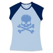 Blue Skull Women's Fitted Cap Sleeve Tee
