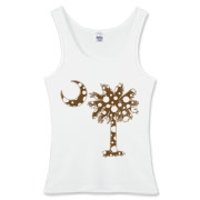 Chocolate Brown Polka Dot Palmetto Moon Women's Fitted Tank Top features a chocolate brown palmetto moon with white polka dots. Buy this fun variation on the South Carolina palmetto moon flag today!