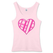 Be My Valentine? Pink plaid heart Women's Fitted Tank Top