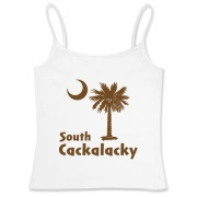 Brown South Cackalacky Palmetto Moon Women's Fitted Camisole Tank features the South Carolina palmetto moon logo in brown.