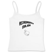 This women's funny astronomy fitted camisole tank top shows a thumb's up gesture, indicating that the proud wearer is an astronomy major.