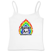 Autist Art with rainbow flame spectrum logo and website address autistart.com.