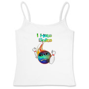This women's funny flaming bowling ball fitted camisole tank top has a flaming bowling ball smashing through bowling pins. The bowling ball has an angry grimace and bowling pins for eye pupils.