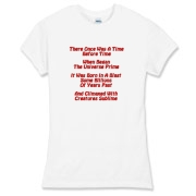 This women's humorous Big Bang limerick jersey tee gives in rhyme a quick recount of the evolution of the universe, from the Big Bang beginning to the creation of mankind.
