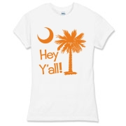 Say hello with the Orange Hey Y'all Palmetto Moon Women's Fitted Fine Jersey Tee. It features the South Carolina palmetto moon.