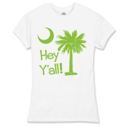 Say hello with the Lime Green Hey Y'all Palmetto Moon Women's Fitted Fine Jersey Tee. It features the South Carolina palmetto moon.