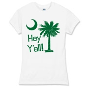 Say hello with the Green Hey Y'all Palmetto Moon Women's Fitted Fine Jersey Tee. It features the South Carolina palmetto moon.