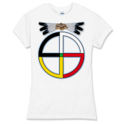 A design made to match the sacred colors of the Four Directions, which are very important to the Dakota Sioux, and to other tribes (although the colors vary somewhat). With eagle feathers and a beaded center piece above it, this design is a popular one!