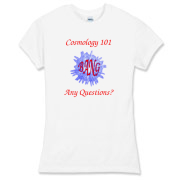 This women's comical astronomy jersey tee is a short course in cosmology. It shows a great explosion across which is written the expanding word BANG. Beneath the image is says: Any Questions?
