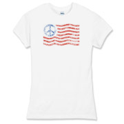 American flag peace sign original design on a variety of shirts for girls.  Mens and Women's t-shirt styles also available in our shop.  View our full selection of patriotic Tees at PatrioticTees.com