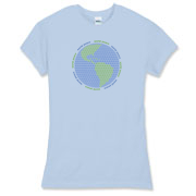 Peace signs make up a globe on this World Peace T-Shirt for women.  Many t-shirt styles available for men women & kids in this peace sign design.
