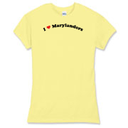 Call it I love Marylanders or I heart Marylanders, this is how you can show your love for Marylanders. Exclusive design featuring cool curved text with a strong red heart.