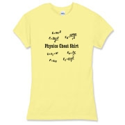 This women's comical physics jersey tee is a Physics Cheat Shirt. It's loaded with scribbled mechanics motion equations. A great gift to the physics or engineering college student you know.